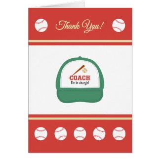 Baseball sports coach thank you greeting card