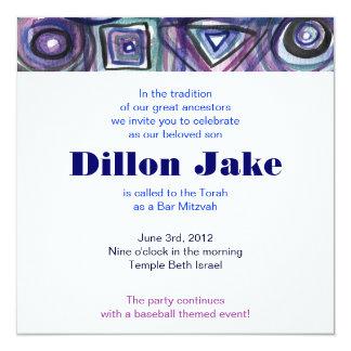 Baseball Sports Invitation Bar Mitzvah Jewish blue