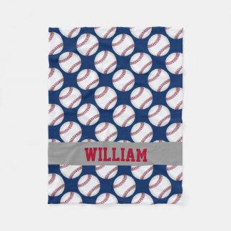Baseball Sports Personalized Red White Blue Fleece Blanket