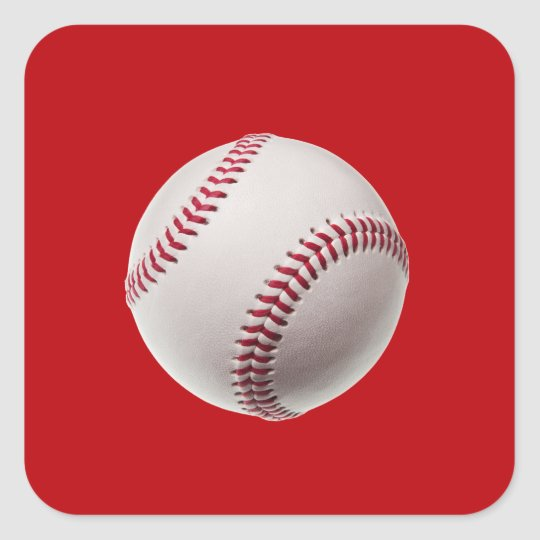 Baseball - Sports Template Baseballs on Red Square Sticker