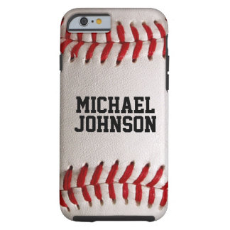 Baseball Sports Texture with Personalised Name Tough iPhone 6 Case