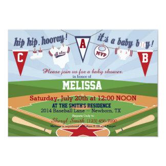Baseball Sports Themed Baby Shower 13 Cm X 18 Cm Invitation Card