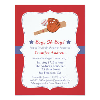 Baseball Star baby boy shower party Card