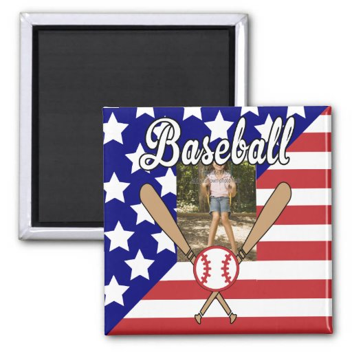 Baseball stars and stripes photo frame refrigerator magnets