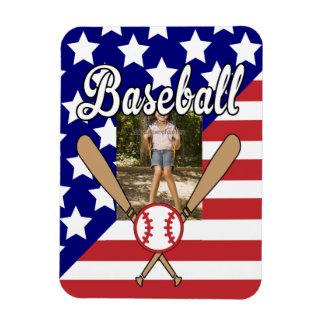 Baseball stars and stripes photo frame rectangular photo magnet