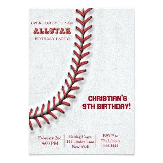 Baseball Stitch Birthday Invitations