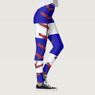 Baseball Stitches Blue and White Leggings
