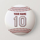 Baseball Stitches Player Number 10 and Custom Name 7.5 Cm Round Badge