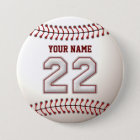 Baseball Stitches Player Number 22 and Custom Name 7.5 Cm Round Badge