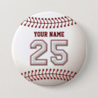 Baseball Stitches Player Number 25 and Custom Name 7.5 Cm Round Badge