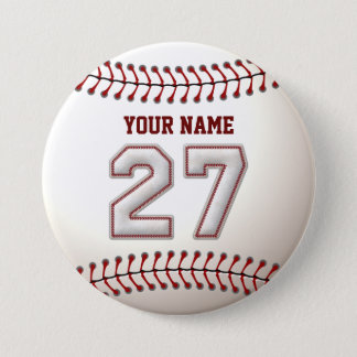 Baseball Stitches Player Number 27 and Custom Name 7.5 Cm Round Badge
