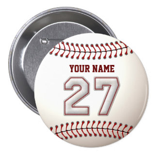 Baseball Stitches Player Number 27 and Custom Name Pin