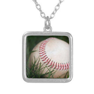Baseball Stitching Silver Plated Necklace