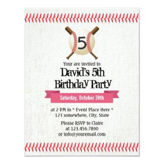 Baseball Stitching Sport Themed 5th Birthday Party 11 Cm X 14 Cm Invitation Card