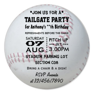 Baseball Tailgate Party Personalized 5.25x5.25 Square Paper Invitation Card