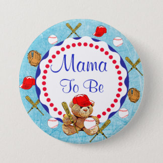 Baseball Teddy Bear Mama to be Baby Shower 7.5 Cm Round Badge