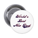 Baseball Text World's Best New Dad 6 Cm Round Badge