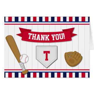 Baseball Thank You Card Folded Note Card