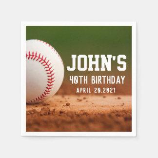 Baseball Theme Man's Birthday Personalized Napkin Disposable Napkins