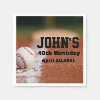 Baseball Theme Man's Birthday Personalized Napkin Disposable Serviette