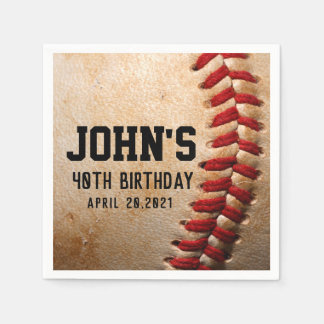 Baseball Theme Man's Birthday Personalized Napkin Paper Serviettes
