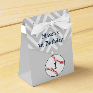 Baseball themed First Birthday Favor Box Party Favour Box