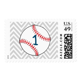 Baseball themed First Birthday Postage