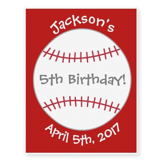 Baseball Themed Tattoo- Birthday Party Favour