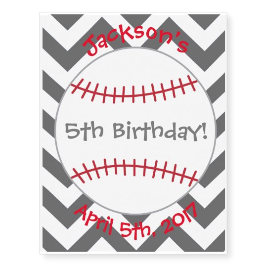 Baseball Themed Tattoo- Birthday Party Favour