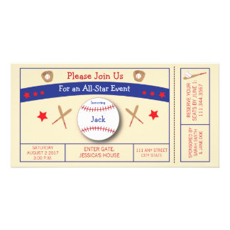 Baseball Ticket Birthday Party Invitation Photo Greeting Card