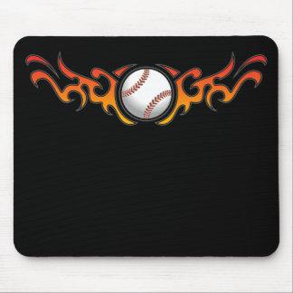 Baseball Tribal Flames Orange Mousepad