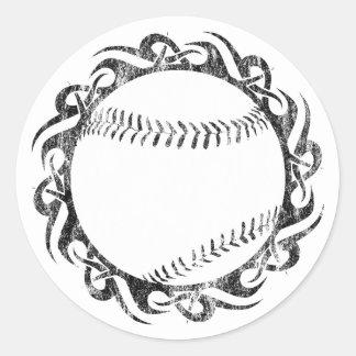 baseball. tribal. round sticker