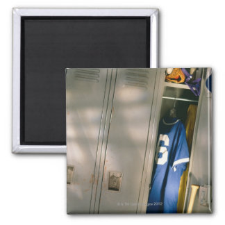 Baseball uniform and equipment in locker fridge magnet