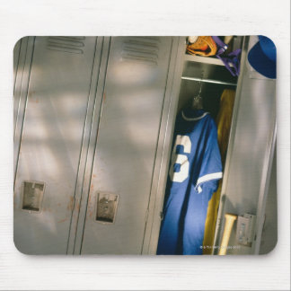 Baseball uniform and equipment in locker mouse pad