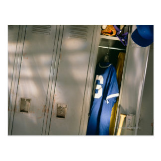 Baseball uniform and equipment in locker postcard