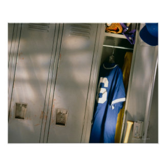 Baseball uniform and equipment in locker poster