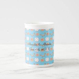 Baseball wedding favors bone china mugs
