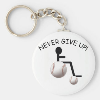 Baseball Wheelchair Button Keychain