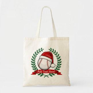 Baseball With A Christmas Style Santa Hat Budget Tote Bag