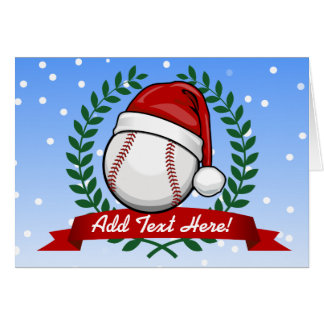 Baseball With A Christmas Style Santa Hat Greeting Card