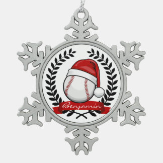 Baseball With A Christmas Style Santa Hat Pewter Snowflake Decoration