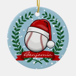 Baseball With A Christmas Style Santa Hat Round Ceramic Decoration