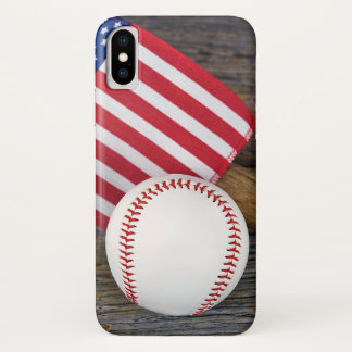 baseball with American flag iPhone X Case