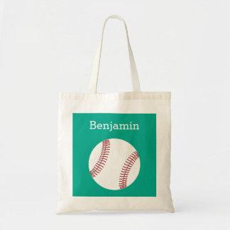 Baseball with Custom Name - Emerald Tote Bag