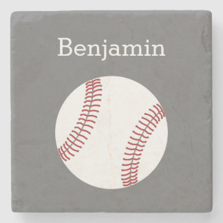 Baseball with Custom Name - Grey Stone Coaster