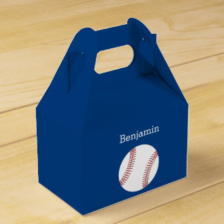 Baseball with Custom Name - Royal Blue Party Favour Boxes
