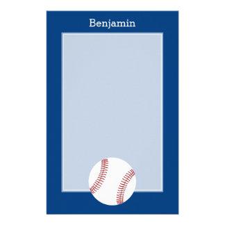 Baseball with Custom Name - Royal Blue Stationery