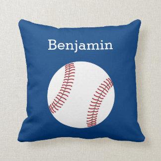 Baseball with Custom Name - Royal Blue Throw Pillow
