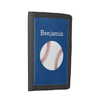 Baseball with Custom Name - Royal Blue Tri-fold Wallet