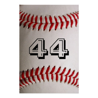 Baseball with customizable number poster